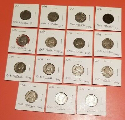 Lot of 15 Vintage Circulated US Nickel (Five Cent) Coins 1911 through 1959