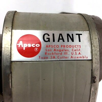 Vintage Apsco Products Inc. GIANT 6-hole Pencil Sharpener Good Working Condition