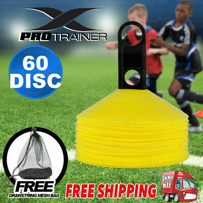 60 Pack Yellow Sports Training Discs Markers Cones Soccer Afl Exercise Personal