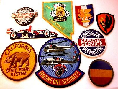 9 Vintage 1941-1985 Assorted Patches Patch WW2 DEA Vegas Marine One Racing Park