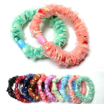 10x Girl Elastic Hair Ties Band Rope Ponytail Holder Hair Accessory Fashion Sq