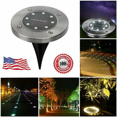Solar Power 8 LED Buried Light Under Ground Lamp Outdoor Path Way Garden Decking