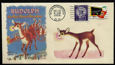 1958 Rudolph The Red-Nosed Reindeer Featured on Collector's Envelope *XS179