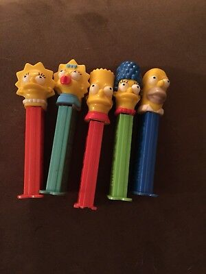 Lot Of 5 Simpsons Pez Dispensers With Feet Homer * Marge * Bart * Lisa * Maggie