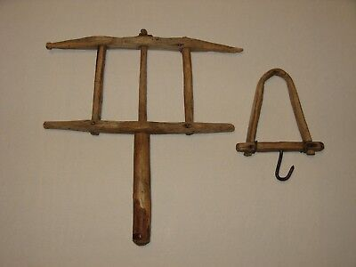 Antique Primitive Hand Made Wooden Rope Maker - 2 Pieces - Square & Round Nails