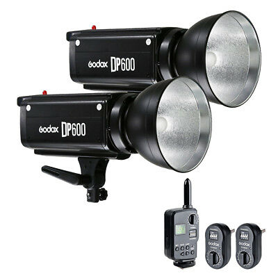 2X Godox DP600 600W Studio Strobe Flash Light Head w/ FT-16 Trigger Kit 220V