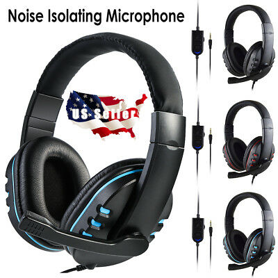 3.5mm Wired Stereo Bass Surround Mic Chat Gaming Headset for PS4 Pro Xbox One PC