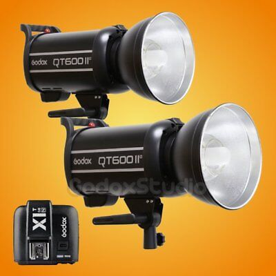 2PCS Godox QT-600IIM 2.4G Studio Strobe Flash Light + X1T-N Transmitter 100-120V