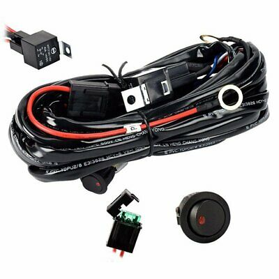 Universal 12V LED HID Driving Light Bar Wiring Kit Harness Loom Switch Relay