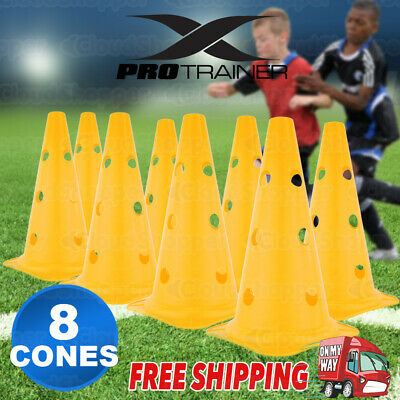 8 Pack Yellow Fitness Exercise Sports Training Markers Cones Soccer Rugby