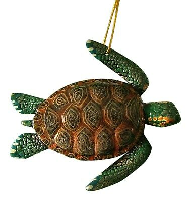 Tropical Reef Sea Turtle Brown and Green Christmas Ornament 07