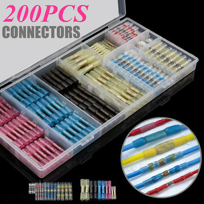 200X Assortment Heat Shrink Butt Wire Connectors Waterproof Solder Sleeve w/ Box