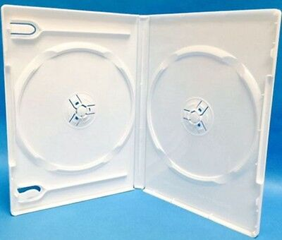 100 New Premium White Double Multi hold 2 Disc DVD CD Cases, Standard 14mm, DW
