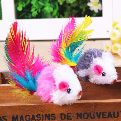 5pcs cute cat pet toy feather plush mouse play cat scratching catch fun Toys Pop