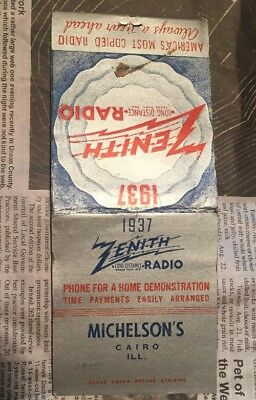 Giant feature RARE 1937 Zenith Matchbook Cover