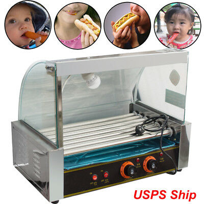 1200w Stainless 18 Hot Dog Commercial 7 Rollers Grill Cooker Machine With Cover