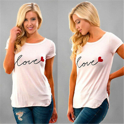 Women Fashion Summer Casual Love Printed T Shirt Solid Short Sleeve Top Tee 6A