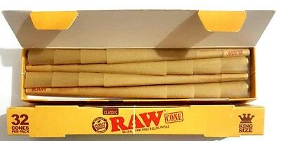 32 Pcs RAW Classic Hemp, King Size, Pre Rolled Cones Tip Roach Rolling Paper.