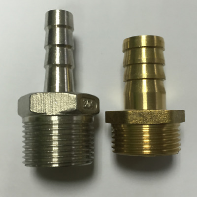 BSP Taper Thread x Hose Tail End Connector -metal Fitting for Air, Water, Fuel