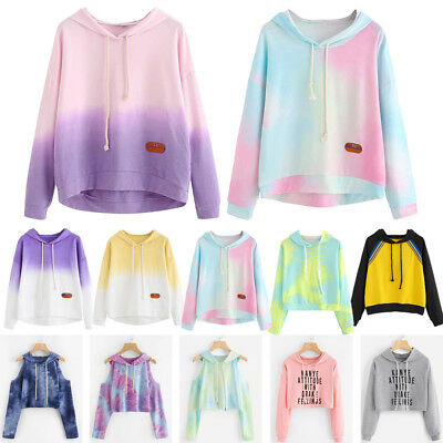Women Patchwork Hoodies Sweatshirt Ladies Girl Hooded Tops Jumper Pullover Shirt