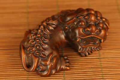 Rare chinese Old Boxwood hand carving Kylin statue figure Ornament valuable