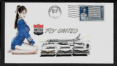 1950s United Airlines & Pin Up Girl Featured on Collector's Envelope *A417