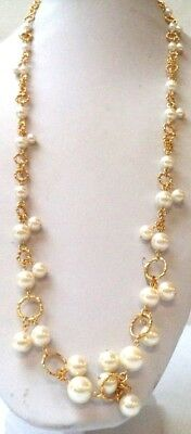 """Stunning Vintage Estate Faux Pearl Gold Tone Chain 30"""" Necklace!!! 9958W"""