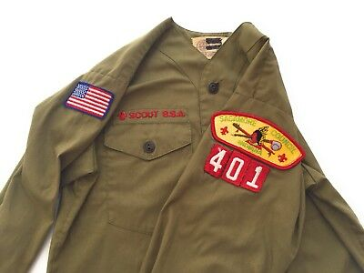 Vintage Boy Scout Uniform Shirt BSA 1960's No Collar Olive Green Council Patches