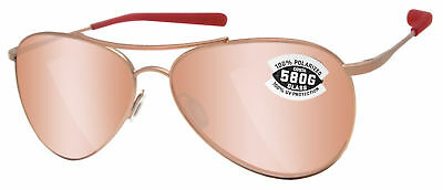 Costa Del Mar Piper Rose Gold Copper Silver Mirror 580G Glass Polarized Lens