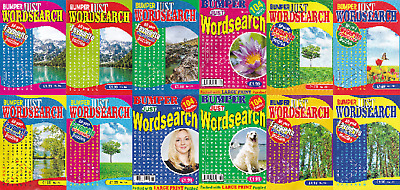Wordsearch Book - Large Print -  12 Book Set - 1248 Puzzles - New