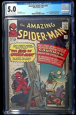 The Amazing Spider-Man #18 CGC 5.0 1st Apperance Ned Leeds Nov. 1964
