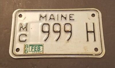 LOW NUMBER Vintage Maine License Plate Motorcycle 1986