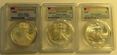 2006, 2012-S, 2016 Silver American Eagle MS69 PCGS First Strike - 3 coin set