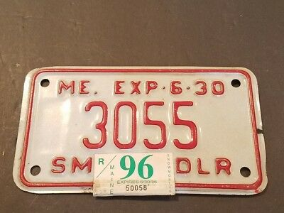 RARE Motorcycle Dealer Tag License Plate Maine 1996