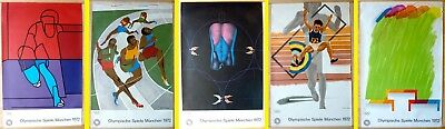 5 Orig. Olympia-PLAKATE München`72 Wunderlich Phillips Lawrence Adami Smith Sig.