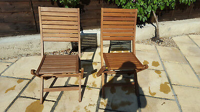 Pair of nearly new Folding wooden Garden chairs, good quality