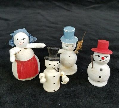 Vintage 4 Snowman Putz Paper Mache  Wood Top Hats Pipe Christmas West Germany