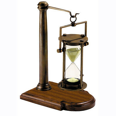 "Brass Hourglass 30 Minute Sand Timer w/ Stand 10"" Bronze Finish Nautical Decor"