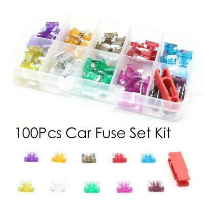 100x Assorted Car Micro Blade Fuse Set 3/5/7.5/10/15/20/25/30/35/40A