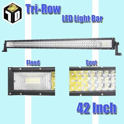 7D Tri-Row 42 Inch 1188W LED Work Light Bar Combo Offroad Driving Lamp Truck MO