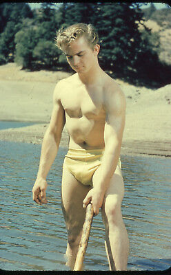 # 9 OLD 35mm PHOTO SLIDE UNKNOWN STUDIO NUDE MALE BODYBUILDER MAN PHYSIQUE GAY