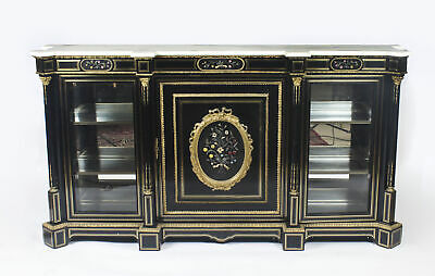 Antique Napoleon III Pietra Dura Ebonised Credenza c.1840