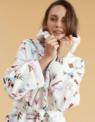 40fc54a78e Joules Idlewhile Fleece lined Dressing Gown in Cream Skii Dog Size SinM