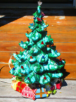 Vintage Ceramic Christmas Tree -17 inches tall- Lights Up and Base