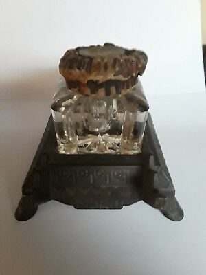 Cast Iron & Cut Glass Victorian Inkwell Pen Holder Ornate Elegant Antique