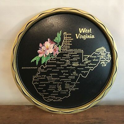 Vintage West Virginia Black and Gold Metal Decorative Souvenir Plate HD14