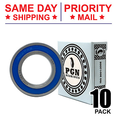 Lot of 10 PCS, 6007-2RS Premium Rubber Sealed Ball Bearing, 35x62x14, 6007rs