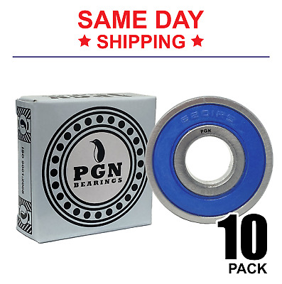 Lot of 10 PCS, 6201-2RS Premium Rubber Sealed Ball Bearing, 12x32x10, 6201rs