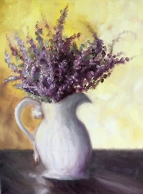 painting flowers lavender white vase oil on canvas floral fine art still life