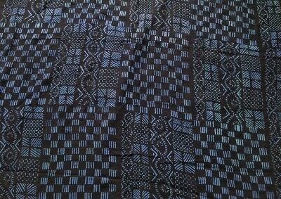 """Authentic African Handwoven Bambara Indigo Mud Cloth From Mali Size 59"""" x 46"""""""